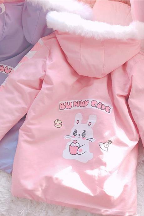 J-fashion 2 Colors Lolita Kawaii Bunny Cake Pattern Casual Coat Jacket LK17121802