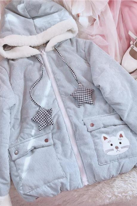 J-fashion 2 Colors Kawaii Kitty Pattern Casual Coat Jacket LK17121804
