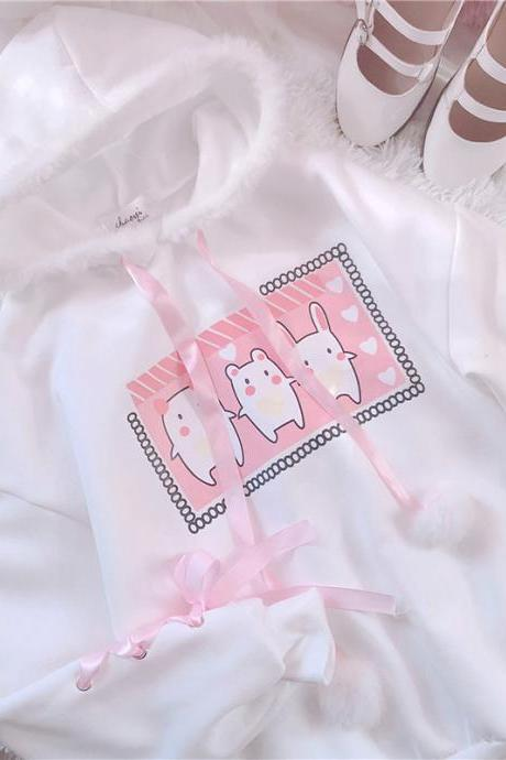 J - fashion Kawaii Cartoon Bunny Hoodie LK17121808