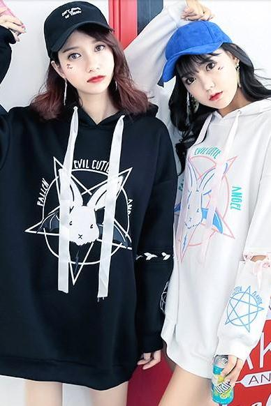 J - fashion 2 Colors Kawaii Cartoon Magic Bunny Pattern Hoodie LK17121812
