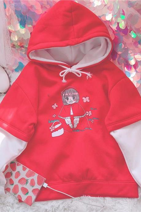 J - fashion Kawaii Cartoon Little Red Riding Hood Pattern Hoodie LK17121813