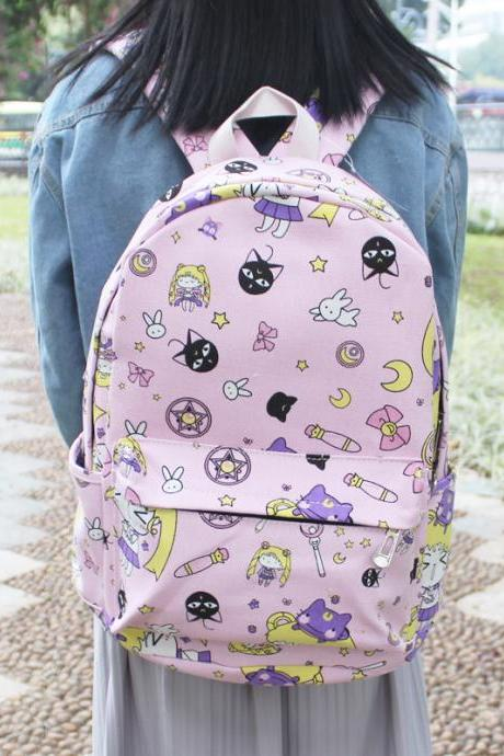 J-fashion Harajuku Kawaii Sailor Moon Luna Pattern Backpack School Bag LK18022609
