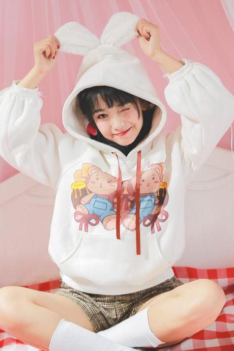 J - fashion Kawaii Cartoon Twins Bears Long Sleeve Hoodie LK18022611