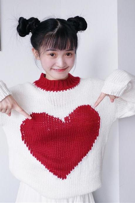 J - Fashion Kawaii Sweet Heart Long Sleeve Sweater LK17070606