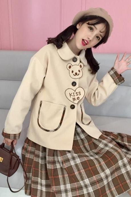 J-fashion Harajuku Kawaii Kiss Me Bear Pattern Coat Jacket LK18022619
