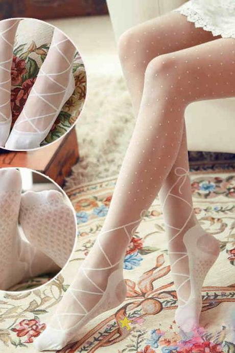 [Free Shipping] 3 Kawaii Lace Bow Legging Tights LK15042216