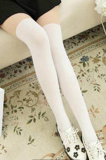 Kawaii Simple Fake Over Knees Legging Tights LK15071520