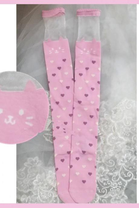 J-fashion Kawaii Cat Face with Sweet Little Heart Tights Legging LK15051105