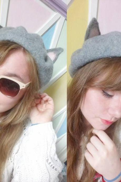 J-fashion Lolita Kawaii Grey Cat Ears Beret LK15110822