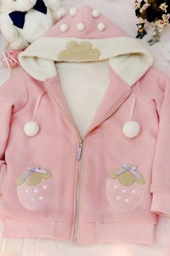 J - Fashion Cute Strawberry Short Fiber Coat Jacket LK16022906