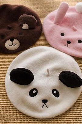 3 Colors Lolita Kawaii Bear Bunny Panda Beret LK16090505