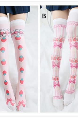 2 Colors Kawaii Cute Cartoon Pattern Over Knees Socks LK17040704